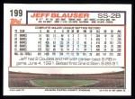 1992 Topps #199  Jeff Blauser  Back Thumbnail
