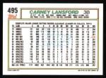 1992 Topps #495  Carney Lansford  Back Thumbnail