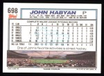 1992 Topps #698  John Habyan  Back Thumbnail