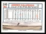 1992 Topps #240  Andres Galarraga  Back Thumbnail