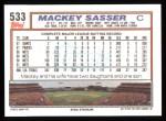 1992 Topps #533  Mackey Sasser  Back Thumbnail
