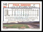 1992 Topps #143  Paul Gibson  Back Thumbnail
