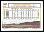1992 Topps #638  Chris Bosio  Back Thumbnail