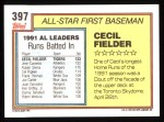 1992 Topps #397   -  Cecil Fielder All-Star Back Thumbnail