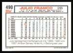 1992 Topps #490  Julio Franco  Back Thumbnail