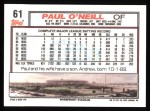 1992 Topps #61  Paul O'Neill  Back Thumbnail