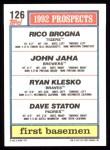 1992 Topps #126  Ryan Klesko  Back Thumbnail