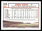 1992 Topps #326  Eric King  Back Thumbnail