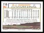1992 Topps #718  B.J. Surhoff  Back Thumbnail