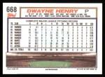 1992 Topps #668  Dwayne Henry  Back Thumbnail