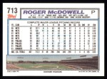 1992 Topps #713  Roger McDowell  Back Thumbnail