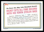1992 Topps #2   -  Rickey Henderson Record Breaker Back Thumbnail