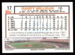 1992 Topps #17  Randy Milligan  Back Thumbnail