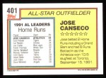 1992 Topps #401   -  Jose Canseco All-Star Back Thumbnail