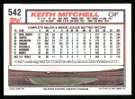 1992 Topps #542  Keith Mitchell  Back Thumbnail