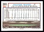 1992 Topps #365  Duane Ward  Back Thumbnail