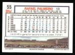 1992 Topps #55  Rafael Palmeiro  Back Thumbnail