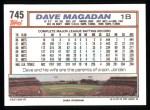 1992 Topps #745  Dave Magadan  Back Thumbnail