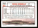 1992 Topps #757  Rob Dibble  Back Thumbnail