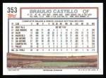 1992 Topps #353  Braulio Castillo  Back Thumbnail