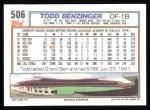 1992 Topps #506  Todd Benzinger  Back Thumbnail