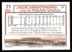 1992 Topps #77  Jack Armstrong  Back Thumbnail