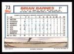 1992 Topps #73  Brian Barnes  Back Thumbnail