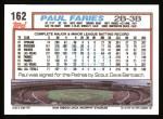 1992 Topps #162  Paul Faries  Back Thumbnail