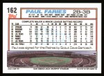 1992 Topps #162  Paul Faries  Back Thumbnail