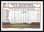 1992 Topps #287  Pete Schourek  Back Thumbnail