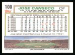 1992 Topps #100  Jose Canseco  Back Thumbnail