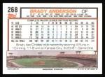 1992 Topps #268  Brady Anderson  Back Thumbnail