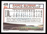 1992 Topps #420  Sandy Alomar Jr.  Back Thumbnail