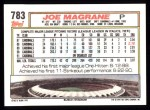 1992 Topps #783  Joe Magrane  Back Thumbnail