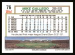 1992 Topps #76  Mike Gallego  Back Thumbnail