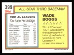 1992 Topps #399   -  Wade Boggs All-Star Back Thumbnail