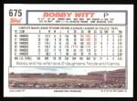 1992 Topps #675  Bobby Witt  Back Thumbnail