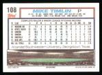 1992 Topps #108  Mike Timlin  Back Thumbnail