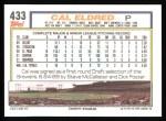 1992 Topps #433  Cal Eldred  Back Thumbnail