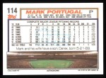 1992 Topps #114  Mark Portugal  Back Thumbnail