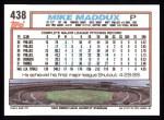 1992 Topps #438  Mike Maddux  Back Thumbnail