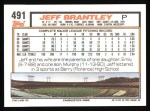 1992 Topps #491  Jeff Brantley  Back Thumbnail