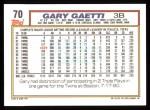 1992 Topps #70  Gary Gaetti  Back Thumbnail