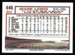 1992 Topps #446  Mark Lewis  Back Thumbnail