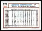 1992 Topps #228  Eddie Whitson  Back Thumbnail