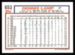 1992 Topps #653  Dennis Lamp  Back Thumbnail