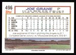1992 Topps #496  Joe Grahe  Back Thumbnail