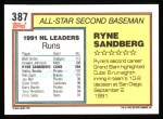 1992 Topps #387   -  Ryne Sandberg All-Star Back Thumbnail