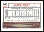 1992 Topps #442  Dave West  Back Thumbnail