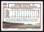 1992 Topps #499  Dave Otto  Back Thumbnail